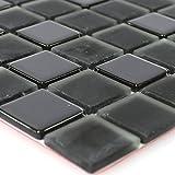 Selbstklebende Glasmosaik Schwarz Uni