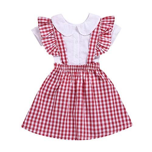 REALIKE Kinder Baby Mädchen 1 PC Tops + 1 PC Kleid Mode O-Ausschnitt Kurzarm Taste Blusen Lässig Gitter Rüschen Sling Crossover Minikleid Sommer 3 Set ()