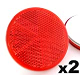 2x Rote Reflektoren 50mm - Rückstrahler Katzenaugen Rückleuchten Selbstklebend -Wohnwagen und Anhänger - Kostenloser Versand!