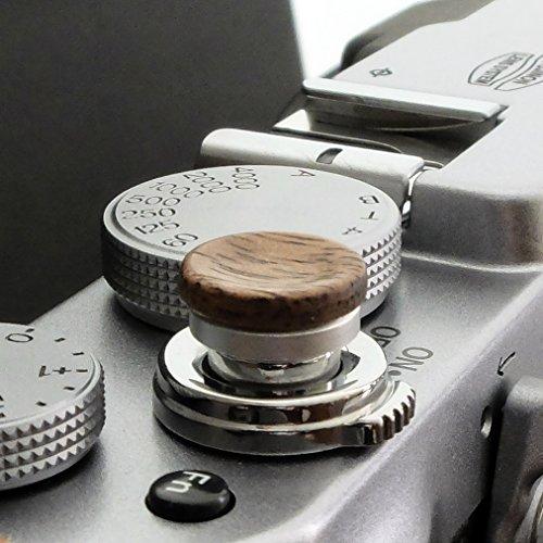 Auslöseknopf aus Aluminium/Holz - Nussbaum (konkav, 11mm) für Leica M-Serie, Fuji X100, X100S, X100T, X100F, X10, X20, X30, X-T2, X-T10, X-T20, X-Pro1, X-Pro2, X-E1, X-E2, X-E2S und die meisten Kameras mit Drahtauslöser-Gewinde, innerhalb von 24 Stunden versandbereit -