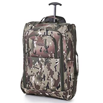 Frenzy/5Cities Lightweight Hand Luggage Bag - Approved Ryanair 2 Wheeled Cabin Baggage. 42L Travel Suitcase Holdall Includes Padlock! (Camouflage 885)