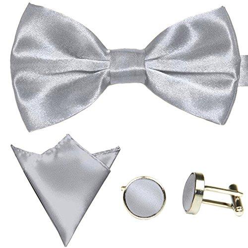 3-SET Fliege Lichtgrau Grau Manschettenknöpfe Einstecktuch Satin Seiden Optik - Schleife zum Anzug