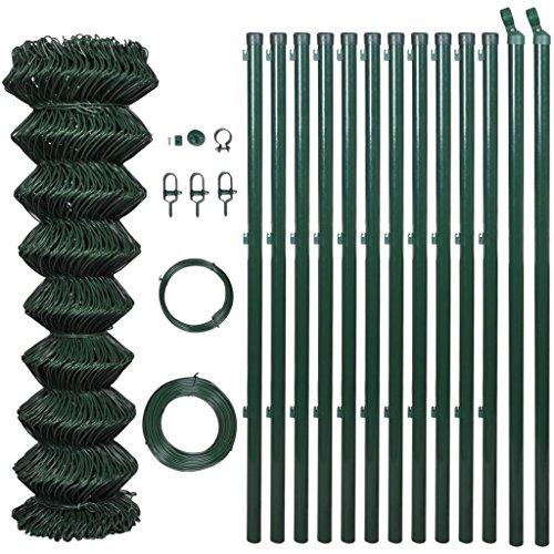 Zora Walter 1,25 x 25 m Clôture en Grillage vert avec poteaux et accessoires clôture jardin barrières extérieures clôture métallique accessoires clôture Kit Clôture extérieur