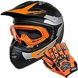 Leopard LEO-X19 *ECE 2205 Genehmigt* Kinder Motocross MX Helm Motorradhelm Crosshelm Kinderquad Off Road Enduro Sport + Handschuhe + Brille - Orange M (51-52cm)