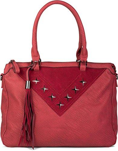 styleBREAKER Shopper Tasche mit Metall-Cutout in Stern Form und Quaste, Schultertasche, Umhängetasche, Handtasche, Damen 02012180, Farbe:Bordeaux-Rot