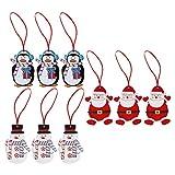 9Stück Holz Santa, Schneemann & Pinguin Weihnachtsbaum Aufhängen Anhänger