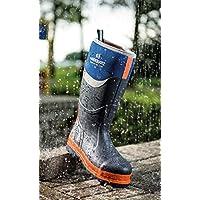 Buckler Buckbootz BBZ6000BL Blue S5 Neoprene Rubber Safety Wellington Boots for Men - Sizes 6-13