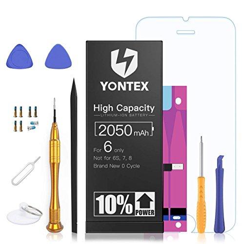 YONTEX 2050mAh Akku für IP 6 Ersatz, Hohe Kapazität 0 Zyklen Batterie, Ersatzakku mit komplettem Reparaturset, Klebestreifen und Bildschirmschutz