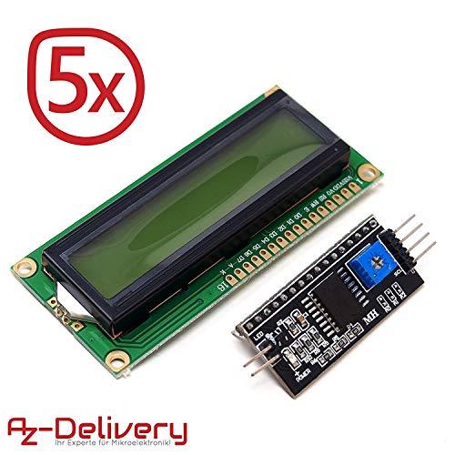 AZDelivery ⭐⭐⭐⭐⭐ 5 x HD44780 1602 LCD Modul Display Bundle mit I2C Schnittstelle 2x16 Zeichen mit gratis eBook! (mit grünem Hintergrund) Lcd-display-modul