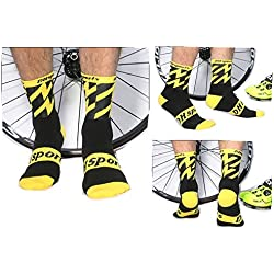 WANPUL Calcetines Ciclismo Hombre Mujer Transpirable Confortable Profesional Largos Sports Calcetines Ciclismo