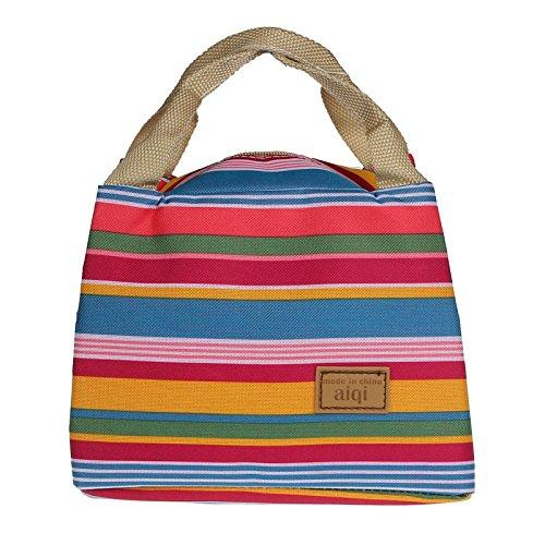 Hkfv comodo borse nuovo isolato termico lunch box Tote cerniera Cooler bag Bento pranzo sacchetto 21*14*16cm/8.3*5.5*6.3inch Pink Multicolor