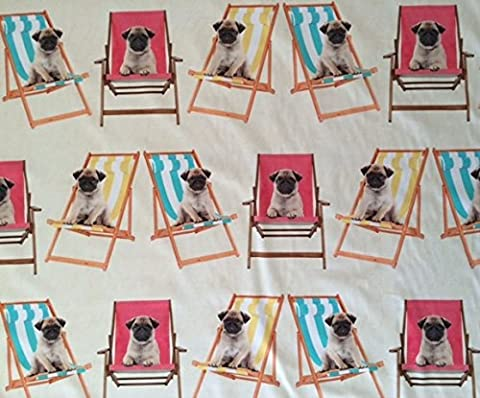 Pugs dogs / puppies on Deckchairs Curtain Upholstery Fabric -
