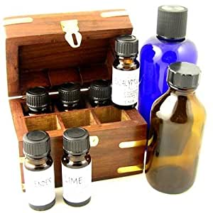Aromatherapy Starter Kit Gift Box with 6 x 10ml essential oils, 1 x 250ml carrier oil and a hand made 10ml bottle wooden storage box- Packed in a card box