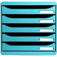 Multifiche 309782 - Módulo organizador con 5 cajones, 34,7 x 27,8 x 27,1 cm, color turquesa