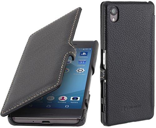 StilGut Book Type Case mit Clip, Hülle aus Leder für Sony Xperia X, Cognac Schwarz - mit Clip