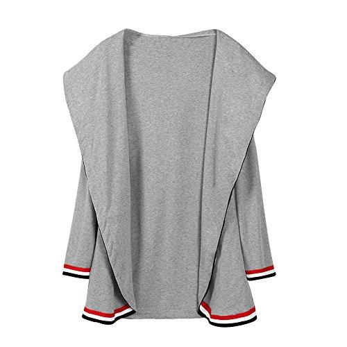 BBring Fall Outwear, Damen Mode Mid Langer Kapuzen Strickjacke Langarm Jacke Gestreifte Spitze Mantel (S, Grau)