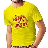 lepni.me Camisetas Hombre A la Cerveza o no, Lema Divertido de la Cerveza, Camisa del Partido (Medium Amarillo Rojo)