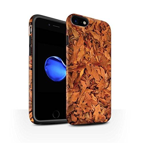 STUFF4 Matte Harten Stoßfest Hülle / Case für Apple iPhone 8 / Weißdorn/Rot Muster / Herbstblätter Kollektion Eiche/Braun