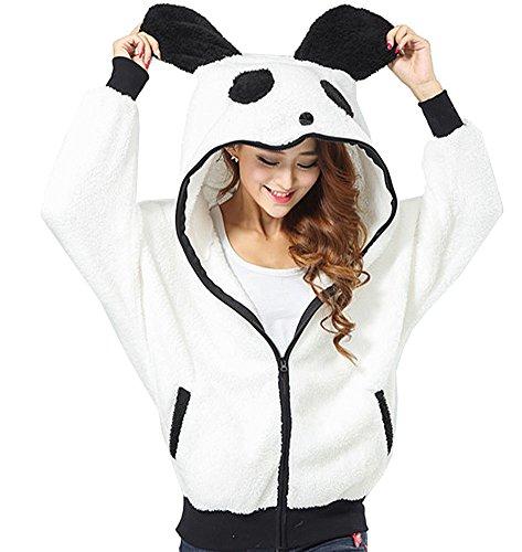 GGTFA Frauen Casual Warme Casual Panda Tier Fleece Zip Through Hoodies Kapuzen Sweatshirt Outwear M