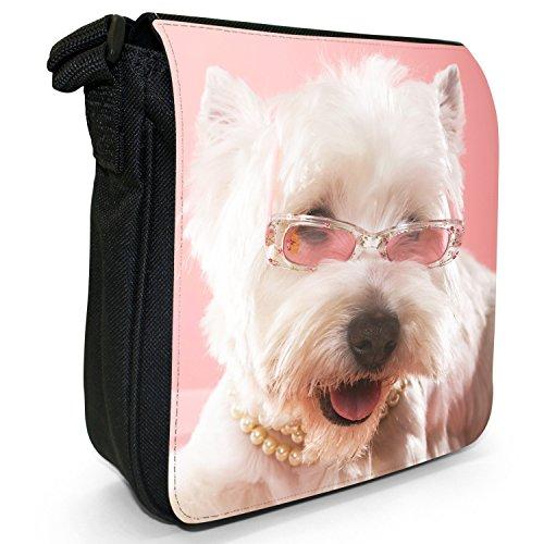 West Highland Terrier cane Piccolo Nero Tela Borsa a tracolla, taglia S Princess Westie Dog
