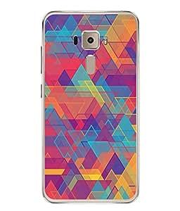 FUSON Designer Back Case Cover for Asus Zenfone 3 ZE552KL (5 Inches) (Geometric Watercolour Art Print Pink Bright)