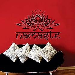 Etiquetas de la pared Yoga Namaste India palabras de Buda de la flor de loto Ganesha Mandala adhesivo de vinilo decoración de la pared murales rwyp etiquetas de la pared
