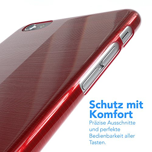 "Apple iPhone 6S / 6 Hülle, EAZY CASE Ultra Slim Cover ""Matt"" - Premium Handyhülle Transparente Schutzhülle, Smartphone Case in Transparent / Weiß Brushed Rot"