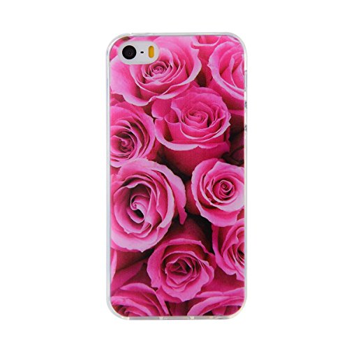 iPhone SE TPU Fall, ikasefu Pretty White Flower Design Slim Fit Soft Gel Bumper TPU Gummi Schutzhülle für iPhone SE/5S/5-white Flower Rose Flower Flower Design Iphone