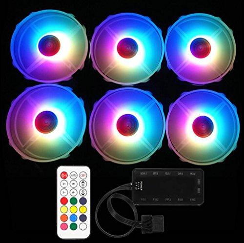 JHKJ RGB Ultra-Leise 120 mm X 120 mm Schrank/Prozessor Lüfter mit PC-Controller mit RF-Fernbedienung,6