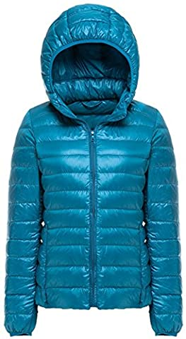 Mochoose Women's Winter Hooded Down Puffer Jacket Coat Packable Ultra Light Weight(Peacock Blue