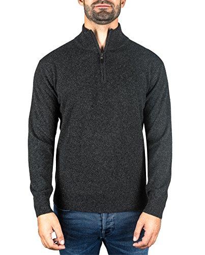 Pullover   sweater   maglione con colletto con cerniera da uomo 100% cachemire (grigio / grigio scuro, l)