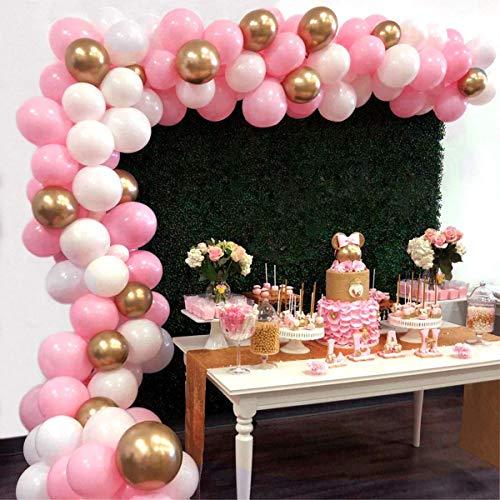 Erosion Balloon Garland Arch Kit 16Ft Lange 112 Stück rosa Weiß Gold Ballons Pack für Mädchen Geburtstag Baby Shower Bachelorette Party Herzstück Hintergrund Hintergrund Dekorationen