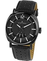 Jacques Lemans 1-1740E - Reloj analógico de cuarzo para hombre con correa de piel, color negro