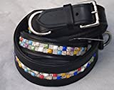 Lederhalsband Salina Glitzer Bunt Leder Halsband Gr. L 50 - 58 cm BREIT Tysons