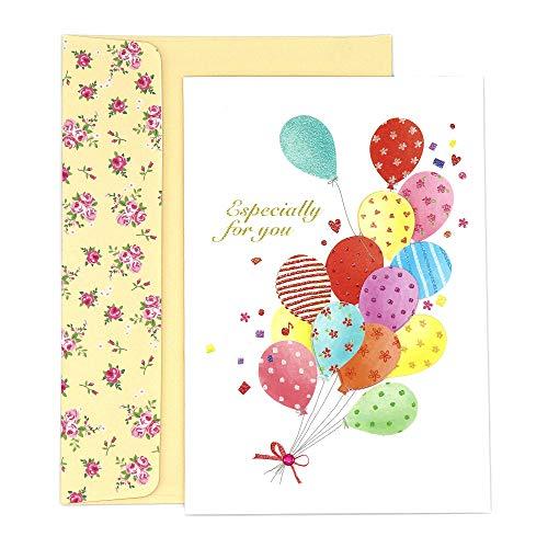 maumdama Grußkarte handgefertigt Karte mit Umschlag Flower EV Ballons
