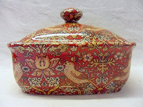 William Morris Red Strawberry Thief Design Butterdish
