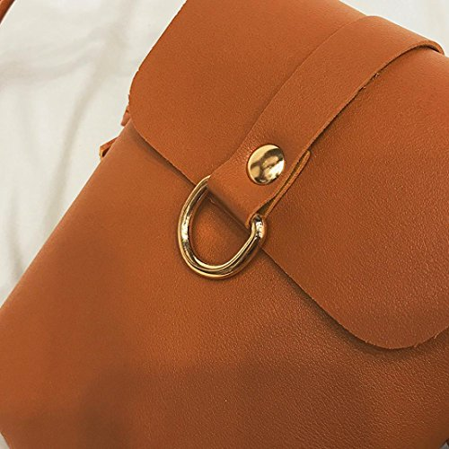 Longra Sacchetto del telefono mobile del sacchetto singolo di colore solido delle donne Marrone