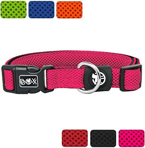 DDOXX Hunde-Halsband aus Air-Mesh | verschiedene Farben & Größen | für große, mittlere & kleine Hunde | Pink, L - 3,2 x 45-68 cm | [Leine & Geschirr separat erhältlich]