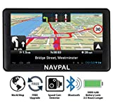 SLIMLINE SAT NAV, 7 Inch with Bluetooth + 2019 World Maps [Pre-Installed] + FREE Lifetime Map Updates, GPS Navigation for Car Truck Motorhome Includes FREE upgrade