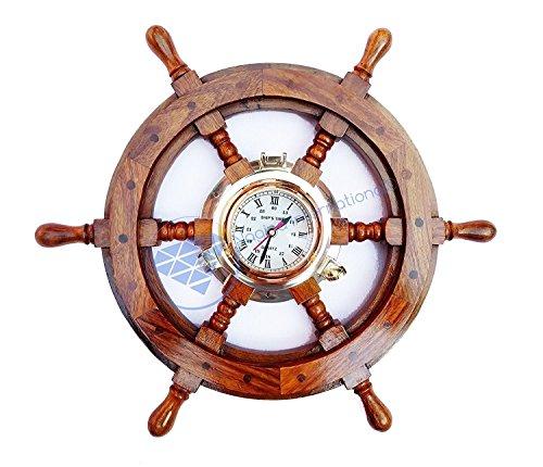 Holz nautischen massivem Messing Bullauge Zeit Uhr Piratenschiff Rad–Captain Maritime Strand Home Decor Geschenk–Nagina International, holz, White ,blue , black ,red, 41 cm