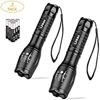 Linkax LED Torch LED Flashlight LED Pocket Torch Adjustable Focus 800 Lumens Handheld Flashlight Torch Zoomable LED Light Waterproof Camping Outdoor Torch 6 x AAA Batteries Included (2 Pack)