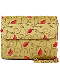 Premium New Latest Designer Ethnic Traditional Yellow Colour Yellow Embroidered Flap Clutch Clutches For Women...