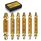 [6 Stück] Qliver Schraubenausdreher Set zum Entfernen leicht beschädigter Schrauben, Schraubenentferner zum Entfernen aller Arten, Hergestellt aus HSS 4341 Härtegrad 62-63hrc (Gold)