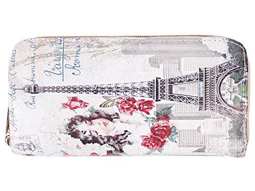 Portafoglio per donne con chiusura zip motivi diversi borsellino portamonete per carta di credito bancanote biglietti moneta, Geldbörse GB-01-22:GB-10 Eiffelturm Mädchen