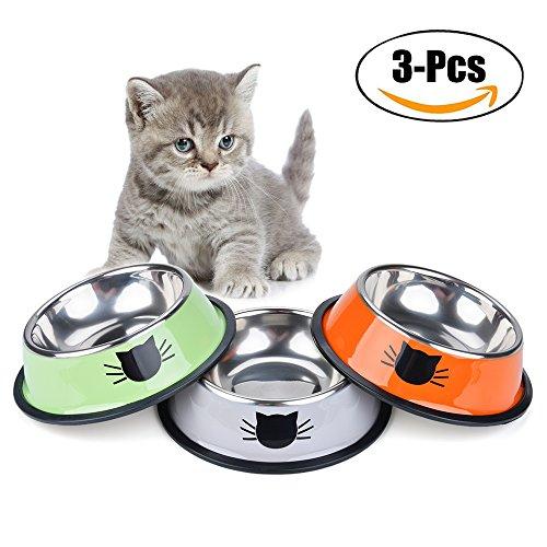 Futternapf Katze, Legendog 3 Stück Edelstahl Rutschfest Katzen Napf | Katzennapf Set | Fressnapf Katze | Trinknapf katze | Futterschüssel Katze | Wasser Fütterung Schüssel | Katzenfutter Wassernapf Schüssel | für Katzen Kaninchen Hamster 11.5*15.5*3.5 CM (Mehrfarbig)