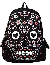 Prohibido mochila de vestir diseño de calavera prohibido para la escuela diseño de Luca Johnson UK A4 bolsa para raquetas de tenis Punk Emo Rock fangbanger negro y rosa