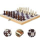 B&Julian Schachspiel Holz Schach Dame Backgammon 3 in 1 Set in Klappbox 29x29 cm für Hobbyspieler Einsteiger Kinder ab 6 Jahren