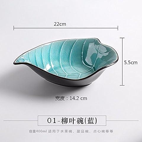 Creative personality fresh-shaped ice-cracking glaze tableware leaves bowl salad plate