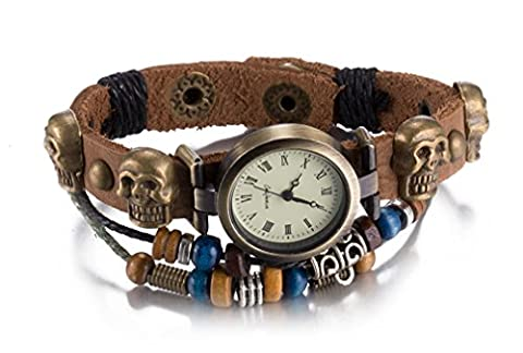 Antique Brown Infinity Leather Weave Skull Geometry Charm Bracelet Bangle Watch Multilayer for Women Girls