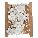 #8: Imported 5M Satin Flower Fishing Line Pearl Bead Chain Trim DIY Decor White